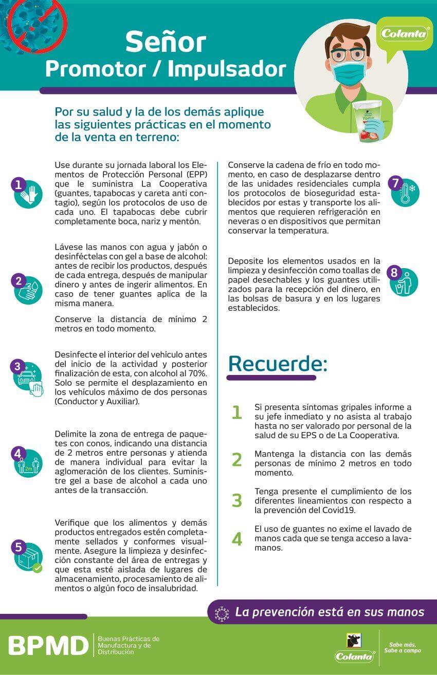 protocolo para promotores e impulsadores colanta covid 19 coronavirus