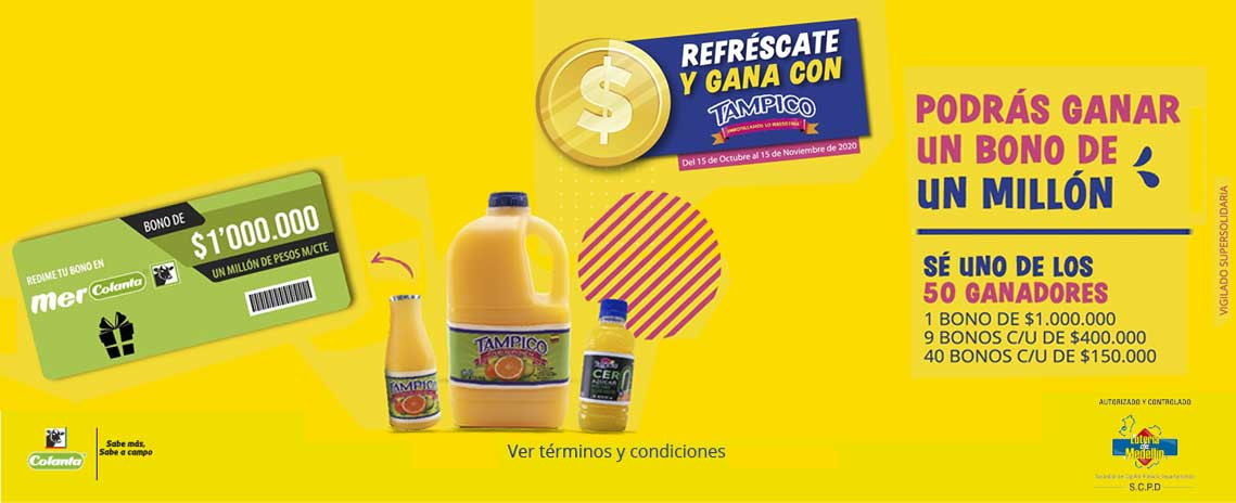 Refréscate y gana con Tampico® y Mercolanta®