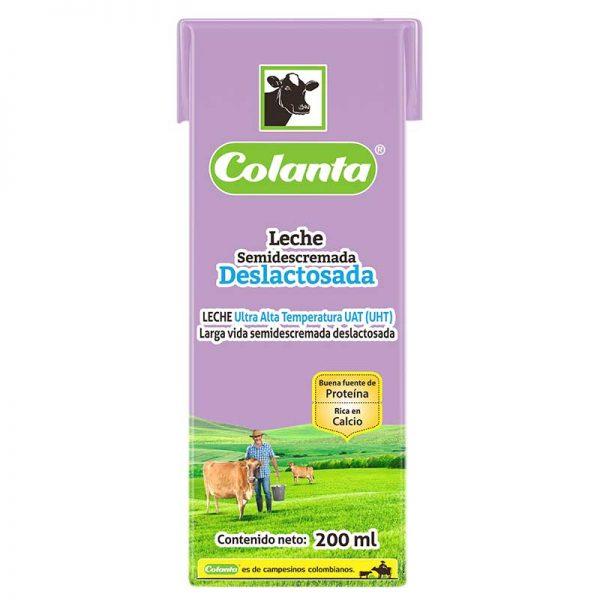 leche uht semidescremada deslactosada Colanta 200 ml