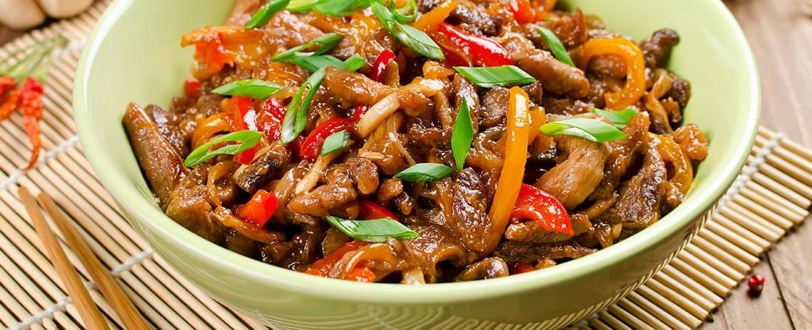 Lomo de cerdo al wok