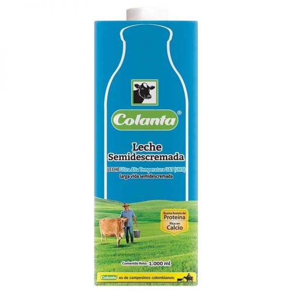 leche uht semidescremada Colanta 1000 ml litron pack