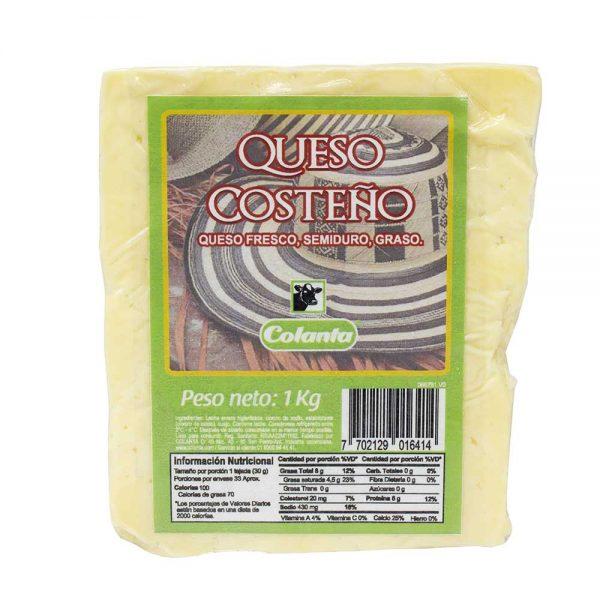 queso costeño colanta 1000 g kilo bloque