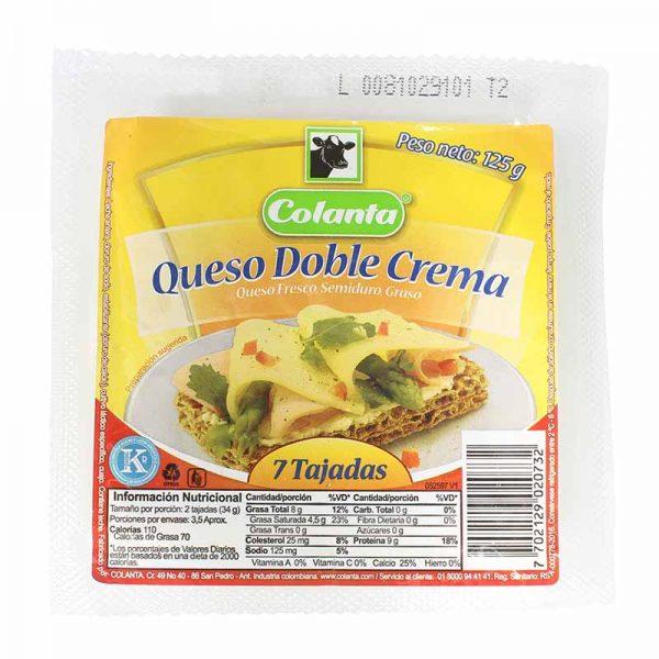 queso doble crema colanta tajado 250g